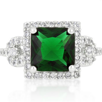 Kara Emerald Princess Cut Halo Cocktail Ring | 7ct | Cubic Zirconia | Silver