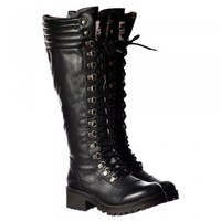 Rocket Dog Landers Bromley Knee High Military Style Lace Up Boots - Black, Brown - Rocket Dog from Onlineshoe UK