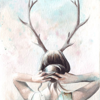Original watercolor Portrait and Antlers Crown painting art