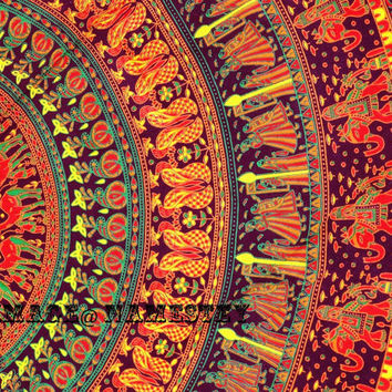 Maroon base Elephant Mandala Tapestry orange, Psychedelic tapestry,Bohemian tapestry,Beach Throw,Indian tapestry,Dorm room Tapestry,Wall art