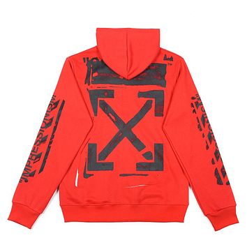 OFF-WHITE Tide brand men's and women's loose zipper hooded sweater Red