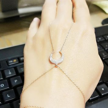 Gold Zirconia Moon Hand Chain Slave Bracelet Over 925 Sterling Silver