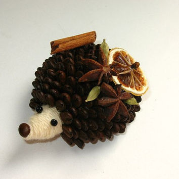 Cute Brown Hedgehog Miniature with Coffee Spines, Coffee Beans. Unique Gift and House Decoration. Funny Forest Animal. Natural Materials