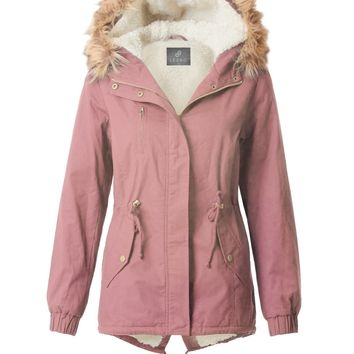 LE3NO Womens Cozy Sherpa Lined Military Anorak Parka Hoodie Jacket with Pockets