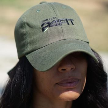 Herbalife 24 FIT polo dad hat, olive w/black
