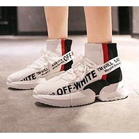 OFF WHITE Newest Popular Woman Casual Elastic Knit Socks Shoes Running Sneakers White