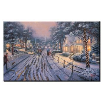 ZZ410 modern decorative canvas prints art thomas kinkade winter snow street still life canvas pictures oil art painting unframed