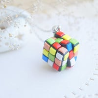Rubik's Cube funky necklace - Colorful rainbow pendant - Polymer clay funny jewelry