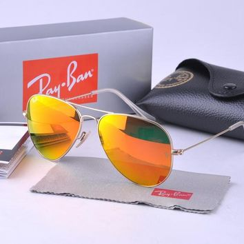 Ray Ban Aviator RB 3025 Sunglass Gold Orange Mirrored