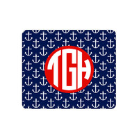 Monogrammed Anchor Mouse Pads, Preppy,College Student, Home Office