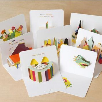 6200 1pc 105x145mm 3D Stereoscopic Greeting Card WITH ENVELOP Handmade Gift Birthday Card  Kids Gift Wish cards