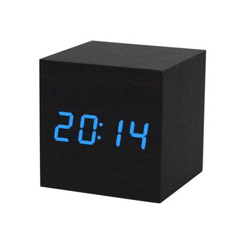 Fashion Style Digital LED Black Wooden Wood Desk Alarm Brown Clock Voice Control Reloj Despertador #30 Gift 1pc