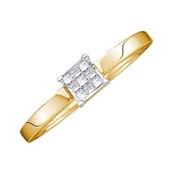 14k Ladies Yellow Gold Invisible Princess Cut Diamond Engagement Promise Ring
