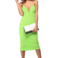 Lime Green Plunging Midi Body Con Dress