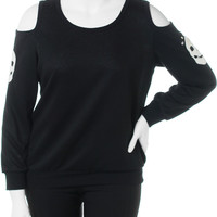Plus Size Open Shoulder Skull Patch Knit Black Top, Plus Size Clothing, Club Wear, Dresses, Tops, Sexy Trendy Plus Size Women Clothes