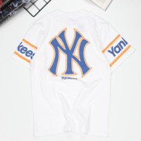 NY New fashion letter print couple top t-shirt White
