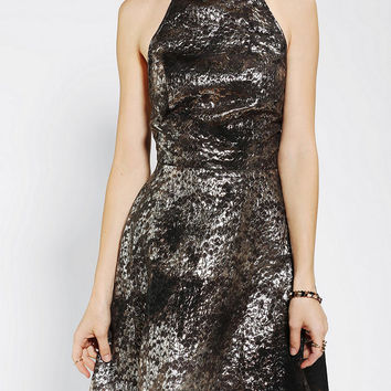 KNT By Kova & T Backless Metallic Halter Dress - Urban Outfitters
