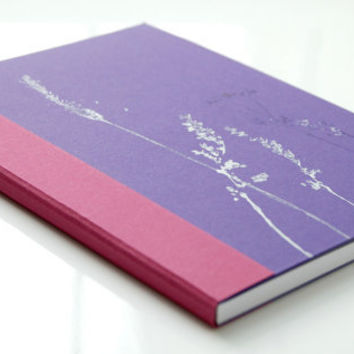 Violet and deep pink handbound cardboard journal