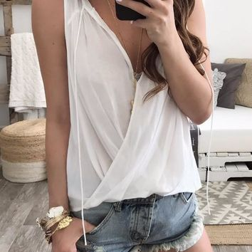 White Plain Plunging Neckline Sleeveless Casual Loose Blouse