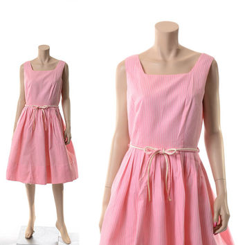 Rockabilly Vintage 50s 60s Pink Garden Party Dress 1950s 1960s Mad Men New Look Day Dress Wedding Dress / Medium / Large