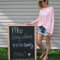 Rose Quartz Long Sleeve Scoop Neck Piko Shirt On Sale | Overstock Boutiques