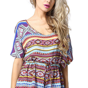 Multi Color Paisley Backless Playsuit