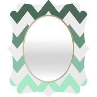 Shannon Clark Mint Chevron Stripes Quatrefoil Mirror