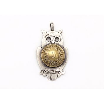 Ook old 925 sterling silver coin necklace with owl and the 5 Rappen coin of Swiss, handmade and one if a kind