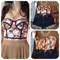 Strapless Bustier Midriff Crop Top Bralette Tube Shirt Bandeau