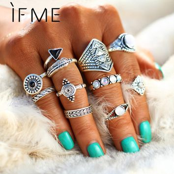 IF ME New 10pcs/Set Vintage Punk Ring Set Antique Silver Color Leaf midi Rings Women Boho Jewelry Natural Opal Stone Gift