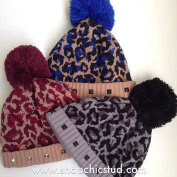 Studded Pom Pom Beanie - Leopard Print Beanie Hat - Royal Blue, Burgundy, or Black - Gold, Silver, or Black Studs