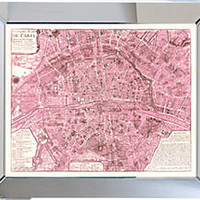Mirror Framed Pink Paris Map