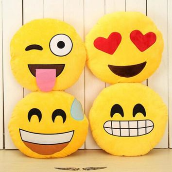 32cm Creative Emoji Pillow Soft Stuffed Plush Toy Doll Round Emoticon Cushion Home Decor Sofa Bed Throw Smiley Face Pillow #20