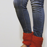 custom chunky knit boot cuffs - the talar mini ankle warmers in pumpkin