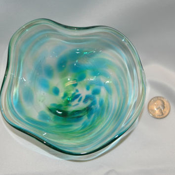 Hand blown green and blue swirl fluted art glass bowl, great as a halloween candy dish, or  housewarming, birthday or christmas gift!