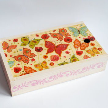 Decoupage wooden box pencil case for crayons children child kid gift idea butterflies for girl