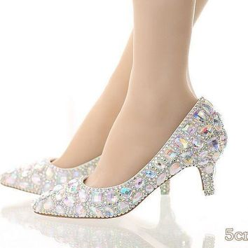 New fashion 5cm thick heel crystal women shoes pumps 5cm rhinestone heels silver rhine