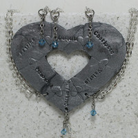 Puzzle Heart Necklaces set of 6 Personalized polymer clay pendants