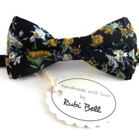 Bow Tie - floral bow tie - wedding bow tie - black bow tie with blue, yellow and green flower pattern - man bow tie - men bow tie