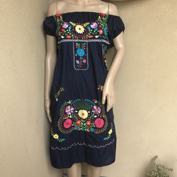 Mexican Traditional Embroidered Dress Off-Shoulder