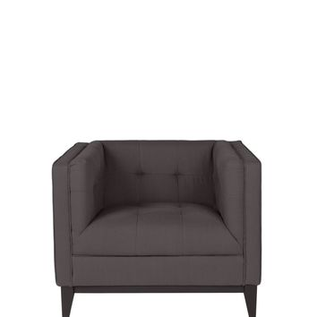 Pancini Club Chair Dark Grey Eucalyptus Wood 55% Linen