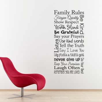 Family Rules Wall Decal - Forgive Quickly - Be Grateful - Say I love you - Laugh Often - Use kind words - Family Decal - Vertical Medium