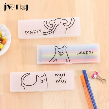 JWHCJ 1pcs Cartoon animal bear/cat/elephant plastic pencil case box School Supplies kawaii stationery Receive case children gift