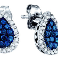 Blue Diamond Fashion Earrings in 10k White Gold 0.53 ctw