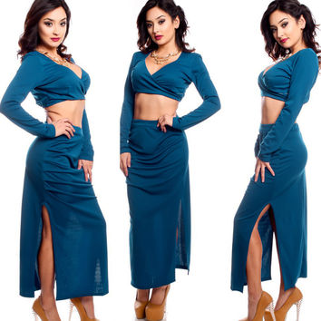 V-Neck Long Sleeve Crop Top and Long Skirt with Side Slits