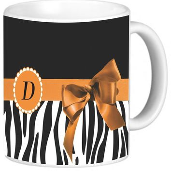 "Rikki Knight Orange Zebra Bow Monogram Design Photo Quality Ceramic Coffee Mug, 11-Ounce, Letter ""D"""