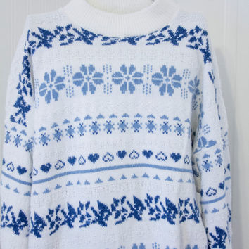 Vintage 80s Snowflake Heart Sweater, Blue White Pull Over, American Pride, Plus Size Oversize Sweater, 20W Size, Nordic Retro Fashion