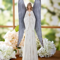 Rustic Angel with Corrugated Metal Wings Praying Serenity Farmhouse Decor