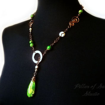 Lariat necklace, Wire Wrapped jewelry handmade, Y necklace, Green sea sediment jasper, copper wire jewelry, boho jewelry, earthy jewelry