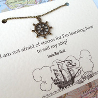 Nautical Necklace With Ships Wheel Charm